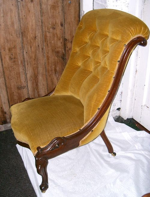 SOLD   A Victorian Mahogany Slipper Chair, This Chair Has Very Good Carving  And Is Upholstered In Gold Velvet.