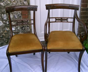 Eight late Regency mahogany chairs