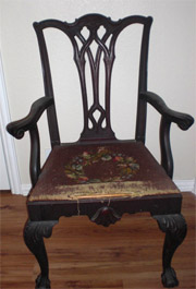 Queen Anne transitional Chippendale style dining chair, Circa 1910