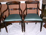 Fantastic quality matching pair of late Regency / William 4th mahogany carver chairs