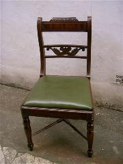Six Regency Mahogany Chairs with drop in seats.