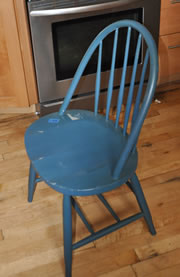 Old Spindle Back Oval Seat Wood Chair
